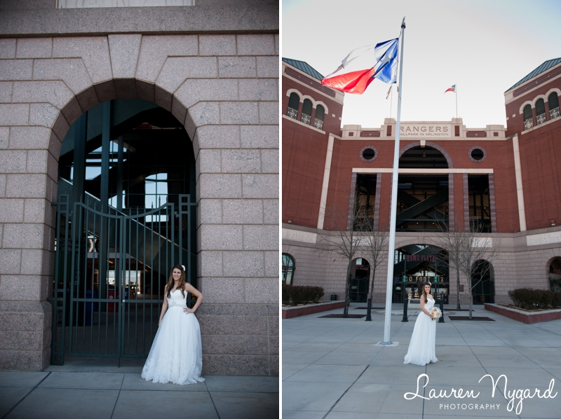 Rangers Stadium Bridal Portraits at the Ballpark at Arlington by wedding photographer Lauren Nygard Photography