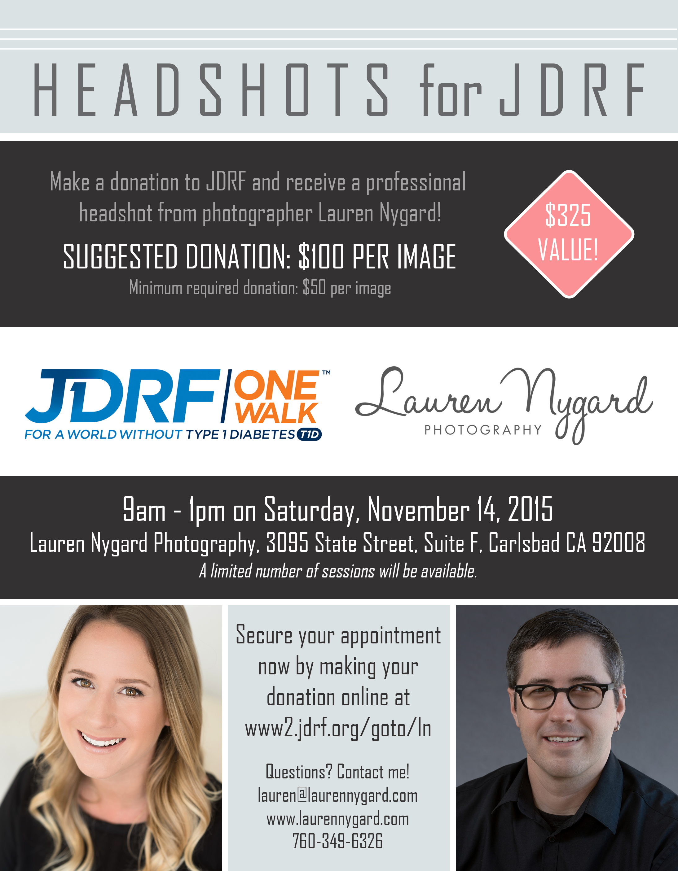 Headshot Fundraiser in Carlsbad Village to benefit JDRF and Type 1 Diabetes Research from Lauren Nygard