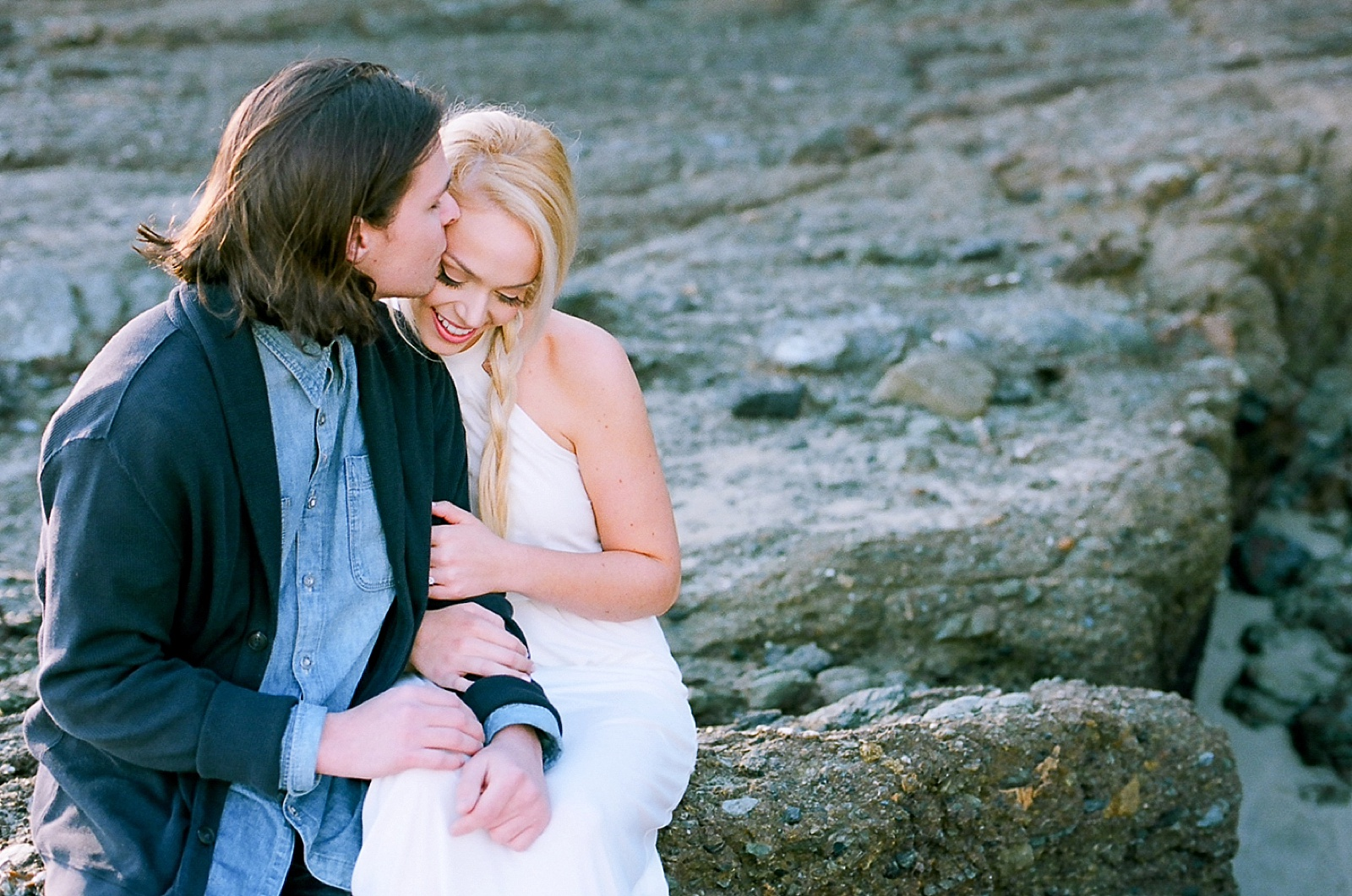 Beach couple's session on film by North Carolina photographer Lauren Nygard