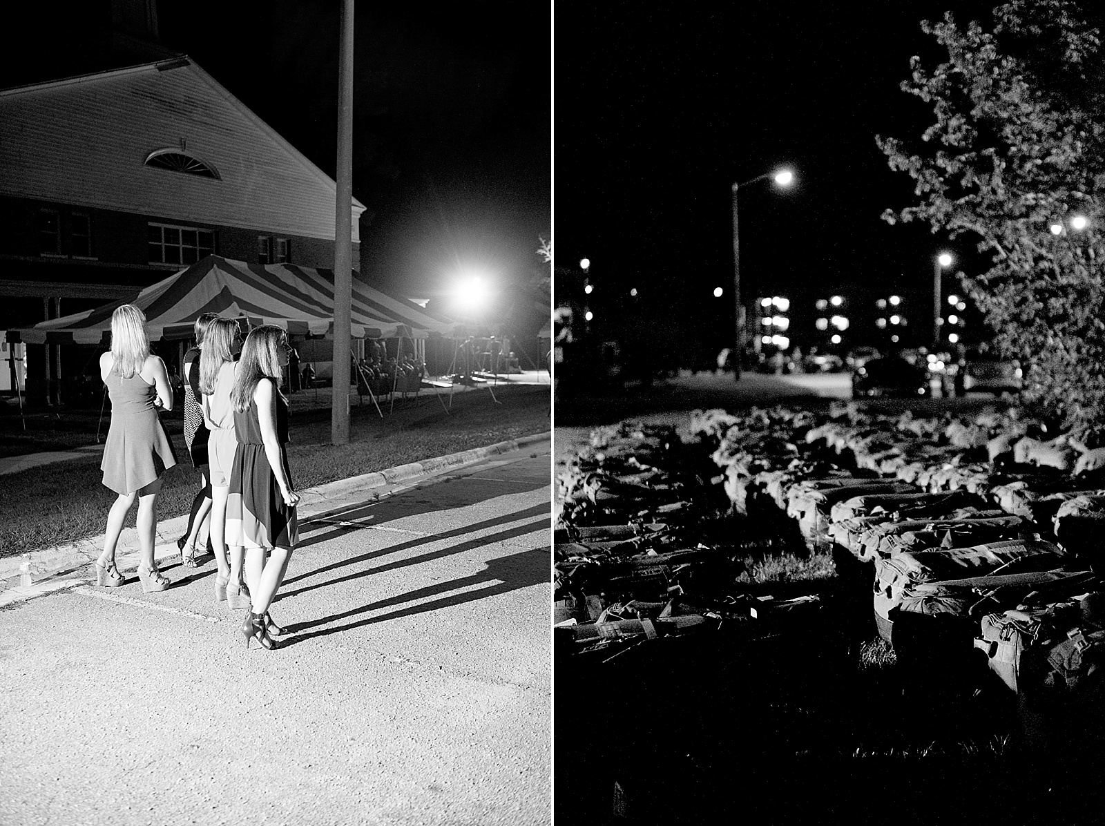 Nighttime Marine Corps homecoming photography at Camp Lejeune from North Carolina portrait photographer Lauren Nygard
