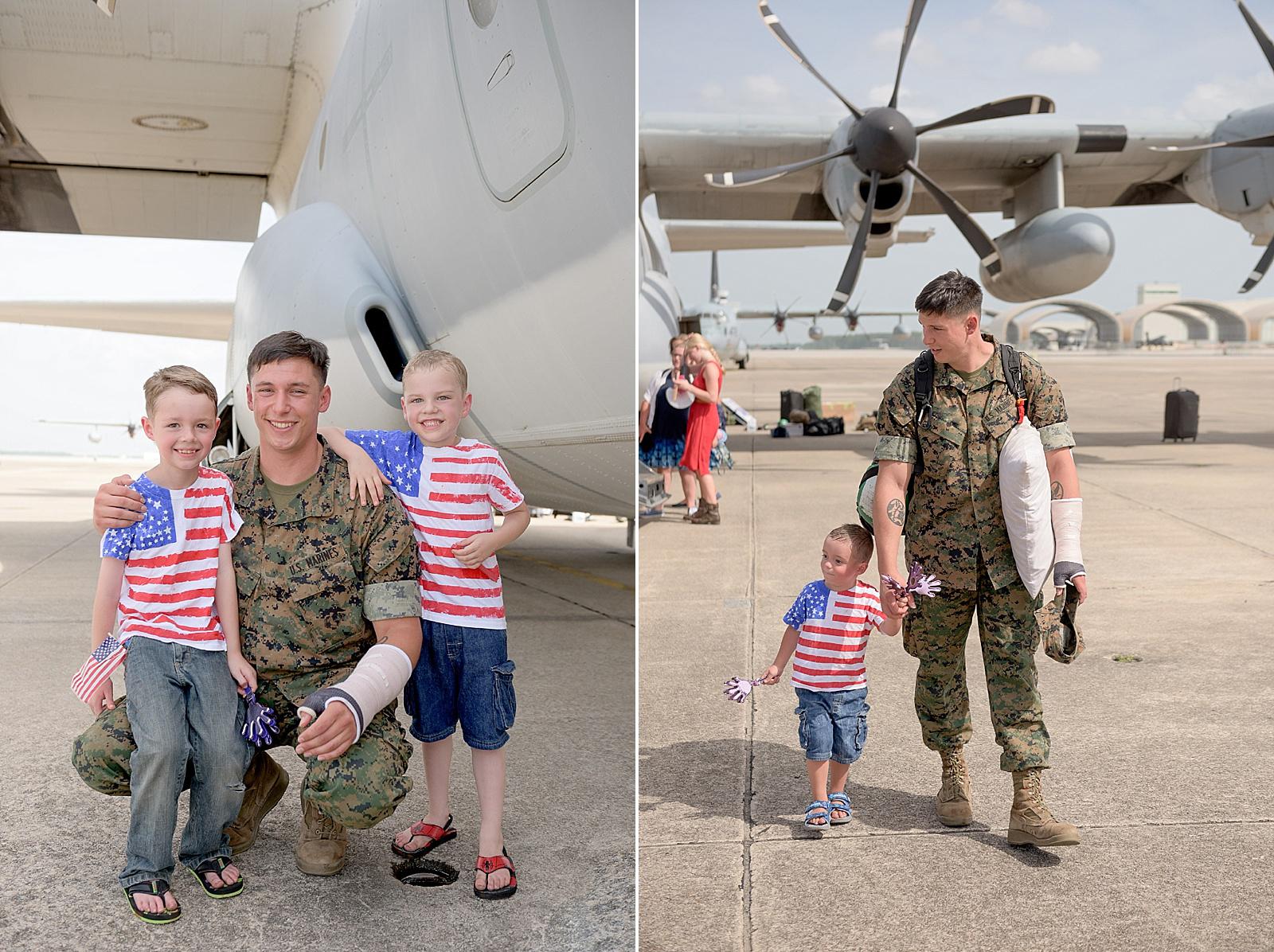 USMC C-130 homecoming photography at MCAS Cherry Point from North Carolina portrait photographer Lauren Nygard